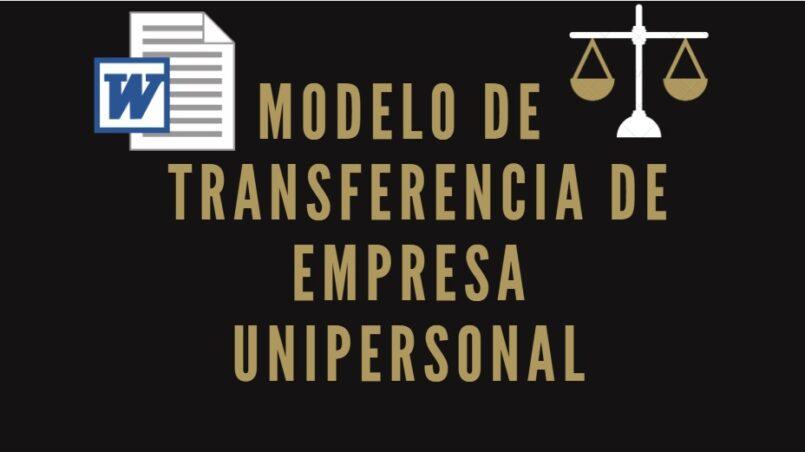 modelo de transferencia de empresa unipersonal